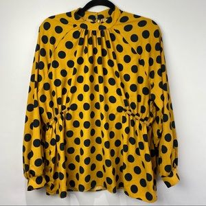 Mustard yellow polkadot mock neck blouse